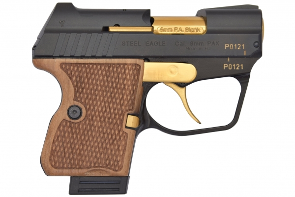 STEEL EAGLE (GV) CNC 9mm PAK Vanadium-Gold Finish Blank Firing Gun