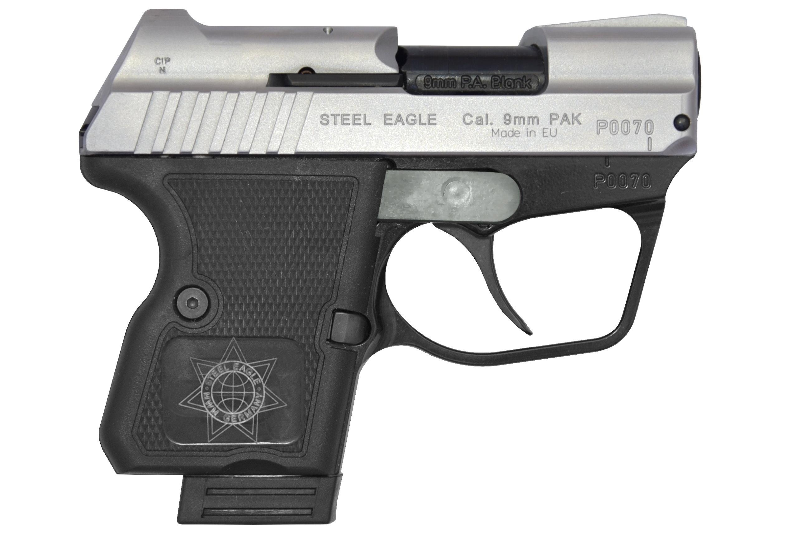 STEEL EAGLE (C) CNC 9mm PAK Vanadium-Chrome Finish Blank Firing Gun